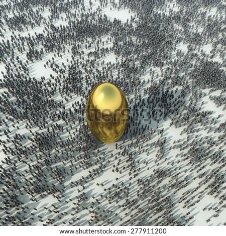 crowd around the golden sphere - stock photo