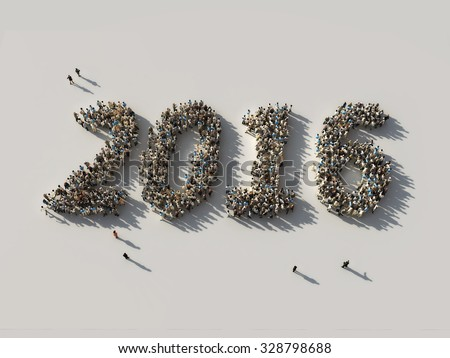 crowd as the 2016 figures - stock photo