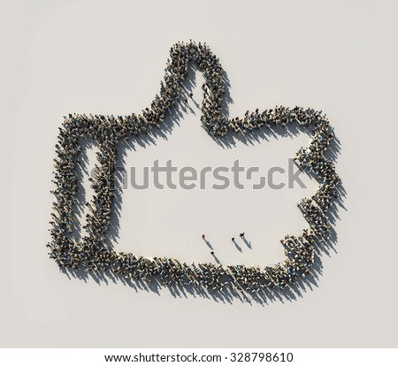 crowd as the like symbol - stock photo