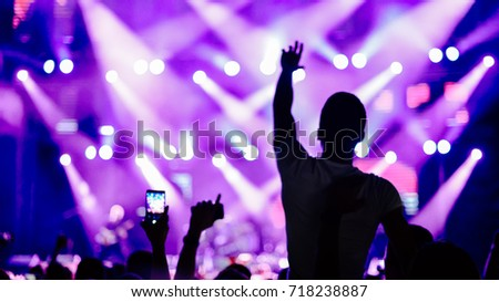 Crowd at concert. Cheering crowd in front of bright colorful stage lights