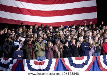 Crowd for Barack Obama Change We Need Presidential rally at Verizon Wireless Virginia Beach Amphitheater in Virginia Beach, VA, October 30, 2008 - stock photo