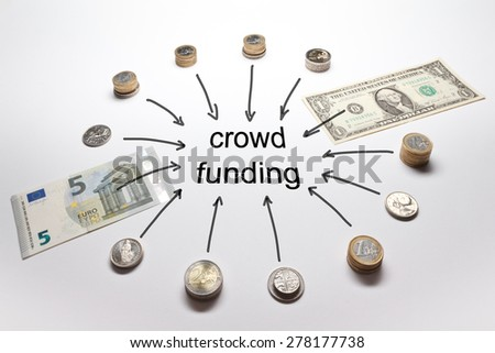 Crowd funding with european and american money, Euro, Dollar; Pound, Francs and Crowns in coins and banknotes - stock photo