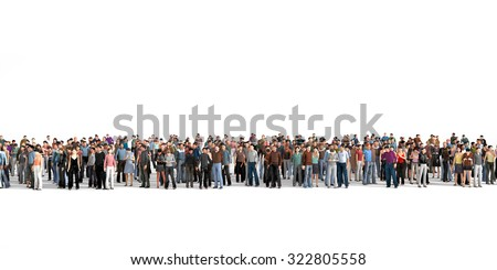 Crowd. Large crowd of people stay on a line on the white background. - stock photo