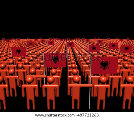 Crowd of abstract people with many Albanian flags 3d illustration