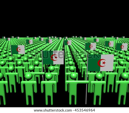 Crowd of abstract people with many Algerian flags 3d illustration - stock photo