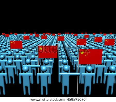 Crowd of abstract people with many Chinese flags 3d illustration