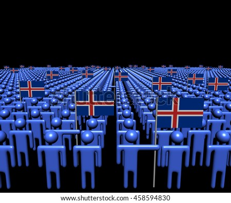 Crowd of abstract people with many Iceland flags 3d illustration - stock photo