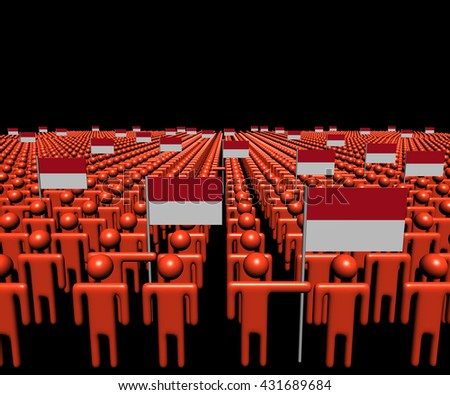 Crowd of abstract people with many Indonesian flags 3d illustration - stock photo