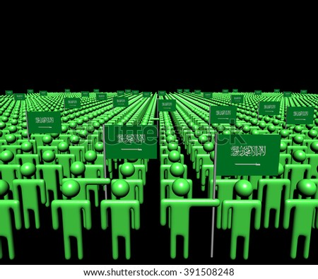 Crowd of abstract people with many Saudi Arabian flags illustration