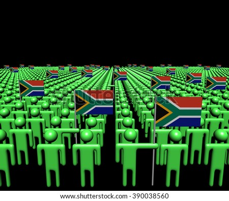 Crowd of abstract people with many South African flags illustration - stock photo