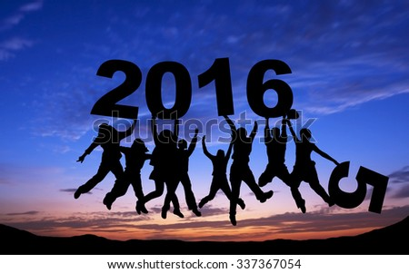 Crowd of friends jumping with 2016 on blue sky background - stock photo