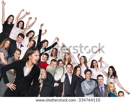 Crowd of happy business prople and strict woman with loudspeaker. Isolated over white - stock photo