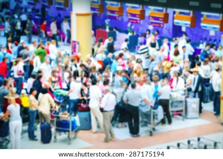 Crowd of people at airport - stock photo
