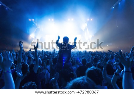 crowd of people at concert in front of the stage