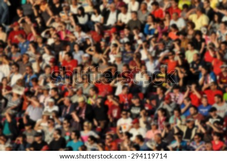Crowd of people - blurred image - stock photo