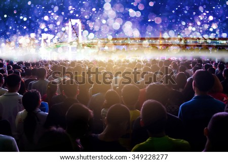 Crowd of people flow in countdown to next year