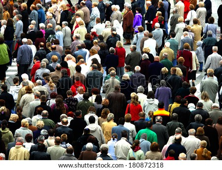 Crowd of people in the city - stock photo