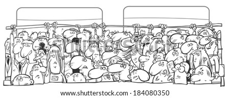 Crowd of people in the public transport.  Outline version. - stock photo