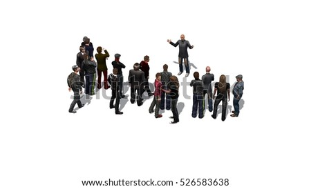 crowd of people isolated on white background - 3D rendering