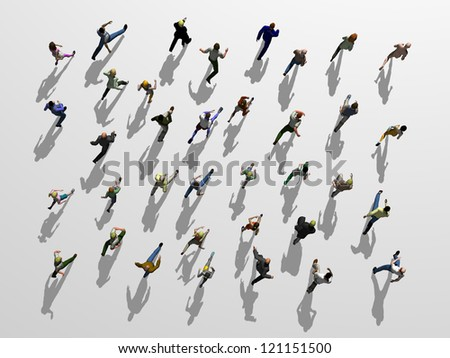 Crowd of people runs in one direction - stock photo