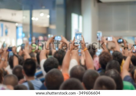 Crowd of people  shooting photo, Blurred abstract background  - stock photo