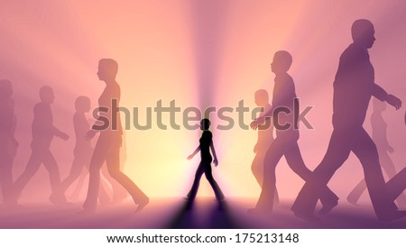crowd of people walking in the fog