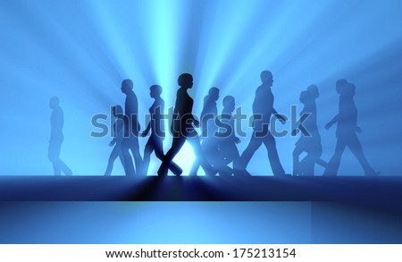 crowd of people walking in the fog - stock photo