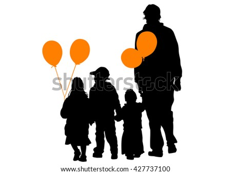 Crowd of people with balloons on a white background - stock photo