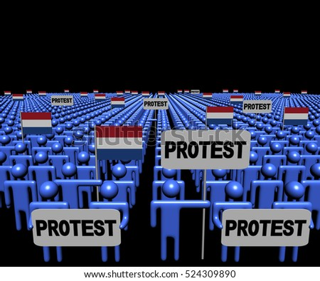 Crowd of people with protest signs and Dutch flags 3d illustration