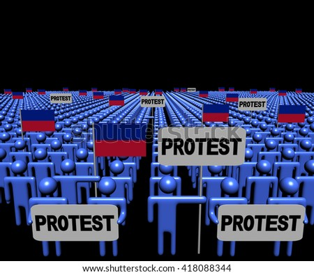 Crowd of people with protest signs and Haitian flags 3d illustration - stock photo