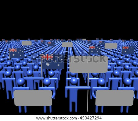 Crowd of people with signs and Australian flags 3d illustration - stock photo