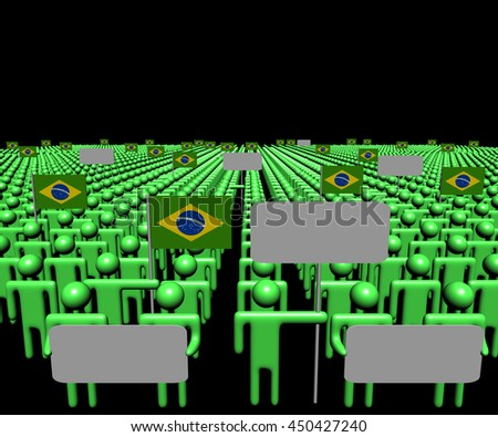 Crowd of people with signs and Brazilian flags 3d illustration - stock photo