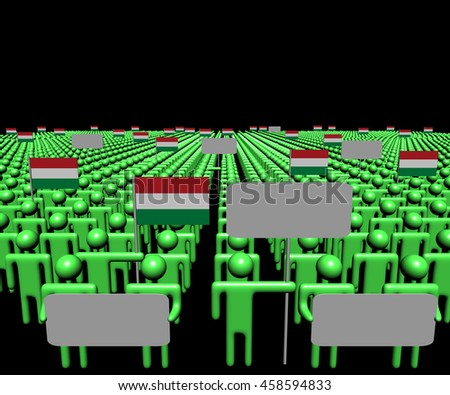 Crowd of people with signs and Hungary flags 3d illustration