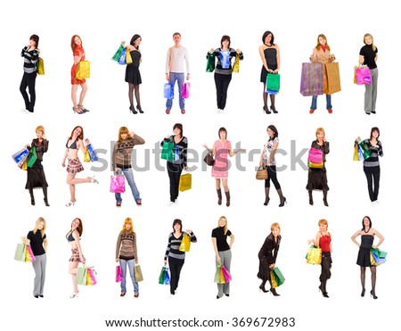 Crowd of Shoppers Isolated Concept