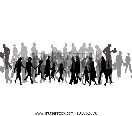 crowd of simple people