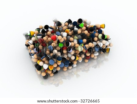 Crowd of small symbolic 3d figures, compressed - stock photo