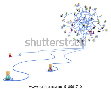 Crowd of small symbolic 3d figures linked by lines, tangled chaotic network, isolated