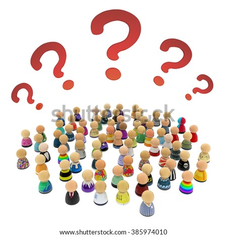 Crowd of small symbolic 3d figures, with question marks, over white - stock photo