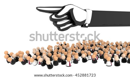 Crowd of small symbolic figures, 3d illustration, horizontal, over white, isolated