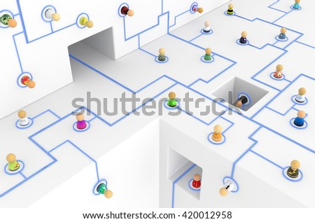 Crowd of small symbolic figures linked by lines, 3d illustration, horizontal - stock photo