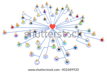 Crowd of small symbolic figures linked by lines, isolated, over white, 3d illustration