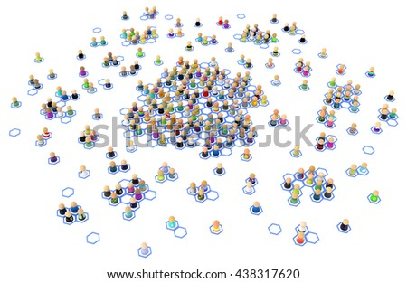 Crowd of small symbolic figures, linked hexagon cells, 3d illustration, horizontal
