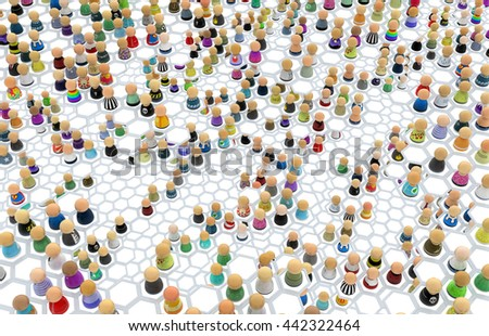 Crowd of small symbolic figures, linked hexagon cells, 3d illustration, horizontal - stock photo