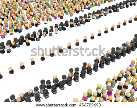Crowd of small symbolic figures, procession security, 3d illustration, horizontal, over white, isolated - stock photo