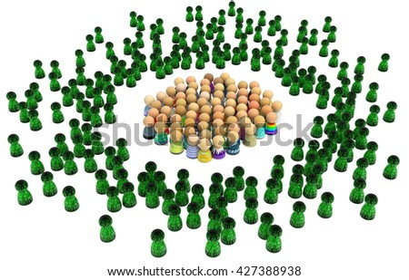 Crowd of small symbolic figures, virtual characters, 3d illustration, isolated, horizontal