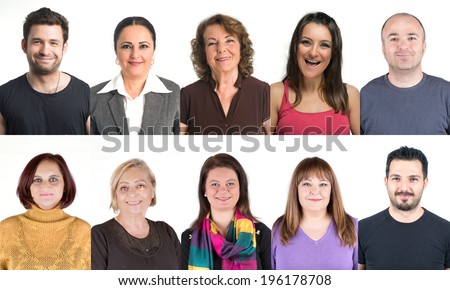 Crowd of ten people collage head shots, all smiling and looking happy with natural ordinary smile on their face - stock photo