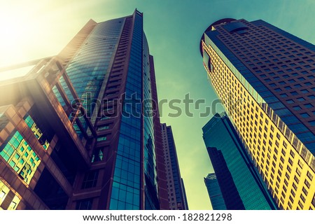 crowd office building of shanghai china. - stock photo