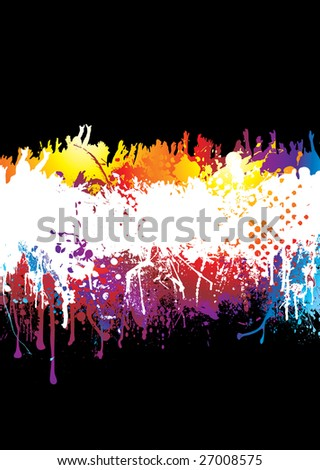 Crowd scene with people hands held high on abstract rainbow background - stock photo