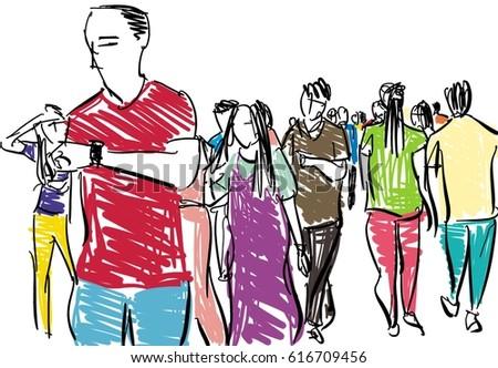 crowd walking cartoon sketch イラスト素材 616709456 shutterstock