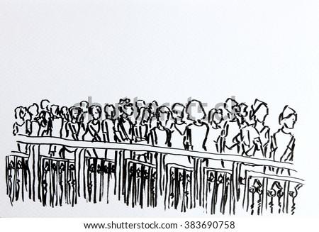 crowd walking in urban scene ink drawing on paper/crowd urban sketching/crowd walking in urban scene ink drawing on paper - stock photo